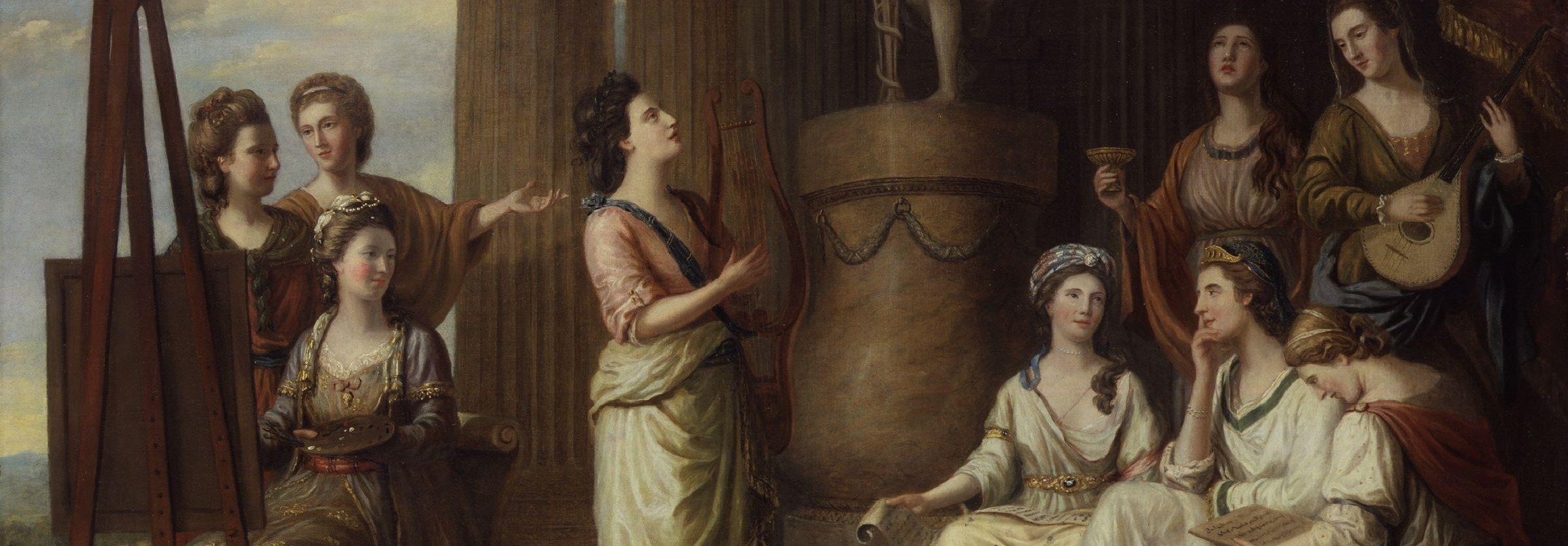 """Portraits in the Characters of the Muses in the Temple of Apollo"" by Richard Samuel (1778)"